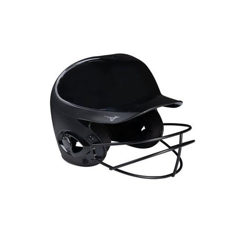 Mizuno MVP Series Solid Youth Batting Helmet with Fastpitch Softball Mask (Black)