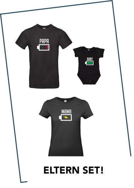 Partner T-Shirts + BABY BODY IM SET SCHWARZ