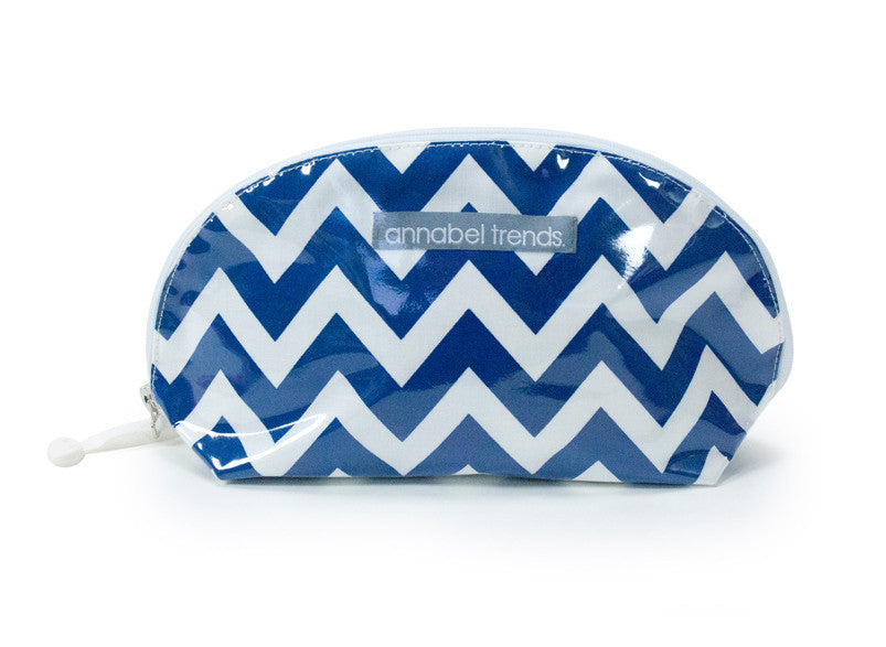 Small Clam Cosmetic Bag (Chevron Navy)