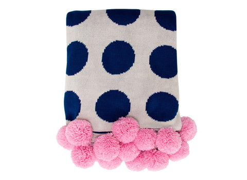 Navy Spot Throw with Pom Pom