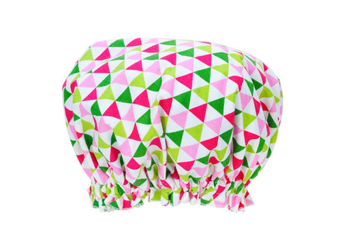 Bunting Shower Cap (Triangles Pink)