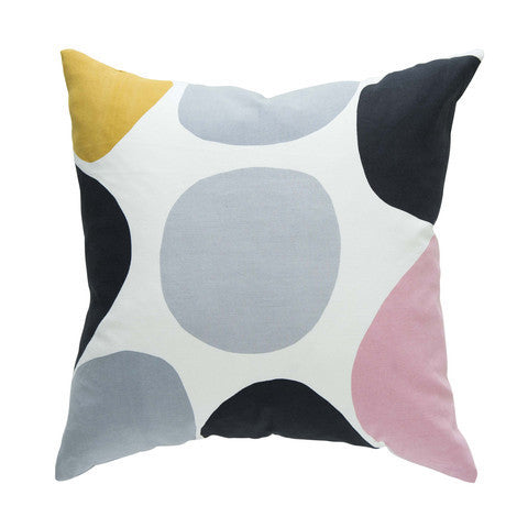 Large Spot Cushion Mustard and Blush Pink