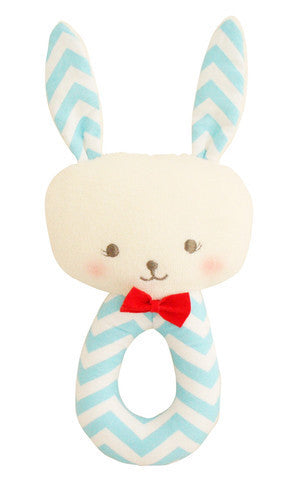 Bunny Grab Rattle Aqua Chevron