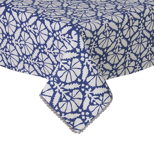 Hana Blue/White 6 Seater Table Cloth