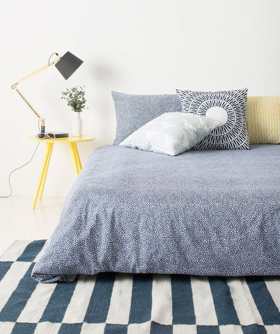 Pebble Navy Quilt Cover Queen