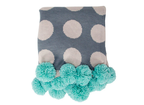 Grey Spot Throw with Pom Pom