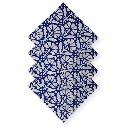 Navy Blue Floral Printed Napkins