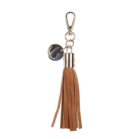 Leather Tassel Keyring Vintage Tan
