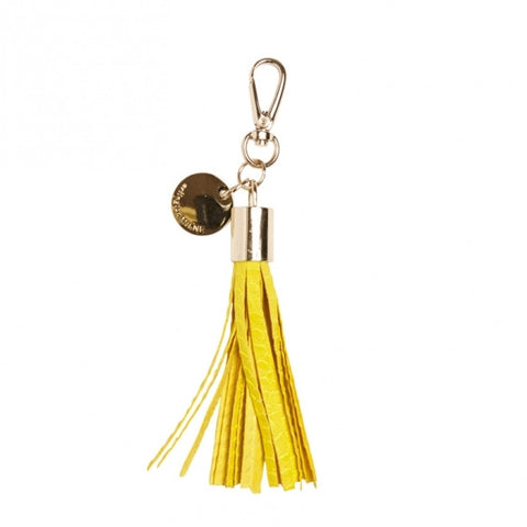 Leather Tassel Keyring Yellow