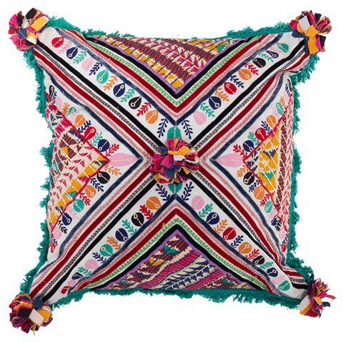 Boho Embroidered Cushion Green
