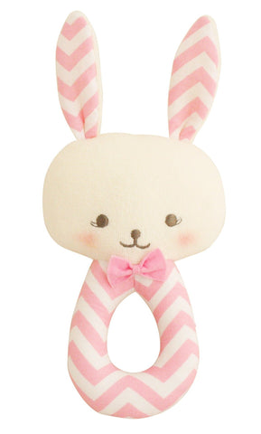 Bunny Grab Rattle Pink Chevron