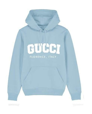 'GG COLLEGE' Womens Hoodie Out The Purse UK 6 baby blue