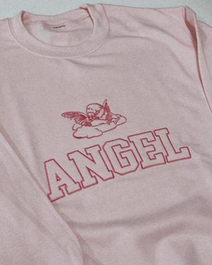Angel Women's Embroidered Sweatshirt Pink Sweater Out The Purse UK