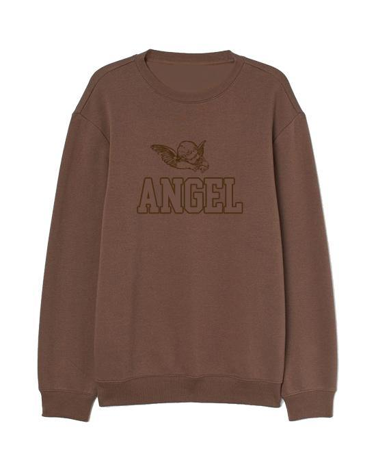 Angel Embroidered Women's Sweater Chocolate Sweater Out The Purse UK