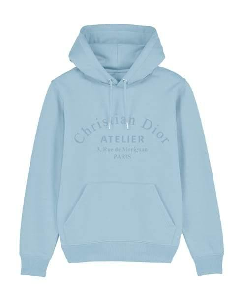 'Atelier' Embroidered Women's Hoodie Out The Purse UK 10 baby blue
