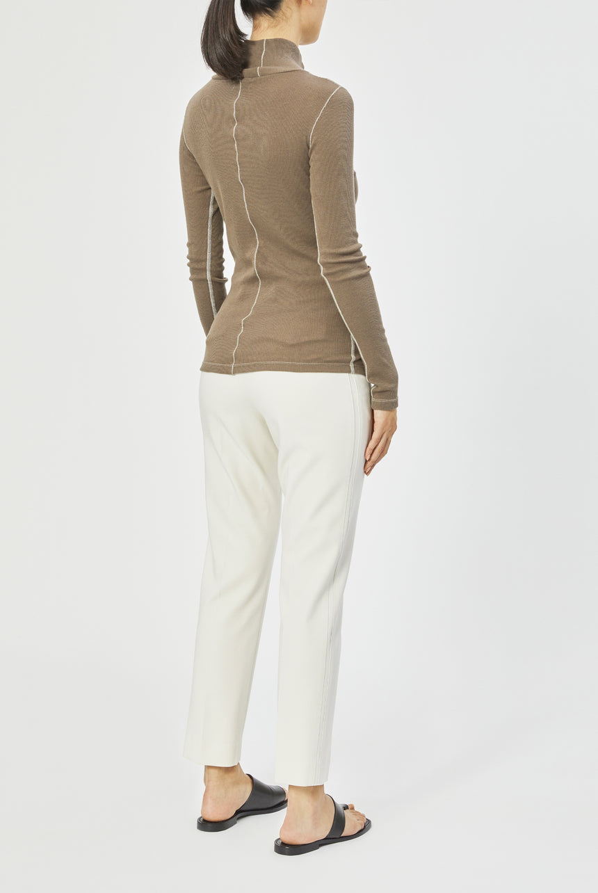 Roll Neck Wool Cotton Rib Top