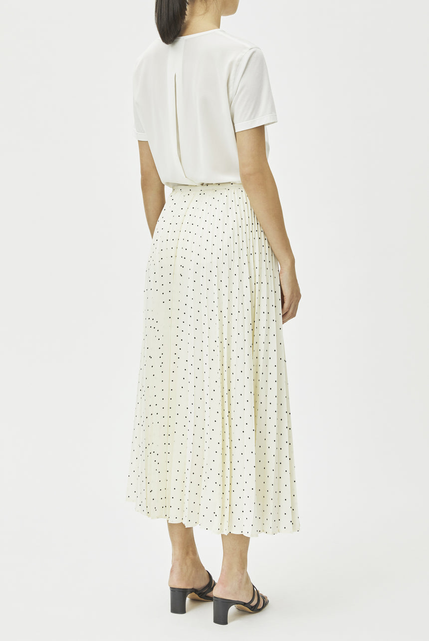 Silk Polka Dot Pleats Skirt