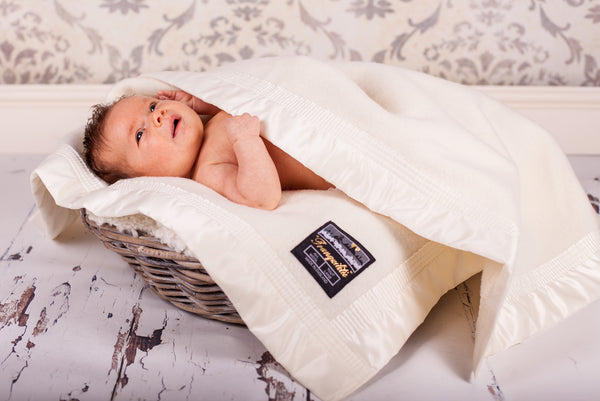 Luxury 100% Merino Wool Baby Blanket with Satin Bound Edge, Cream