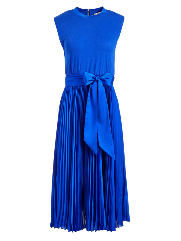 YUKI STRAIGHT SHOULDER PLEATED DRESS WITH TIE_1