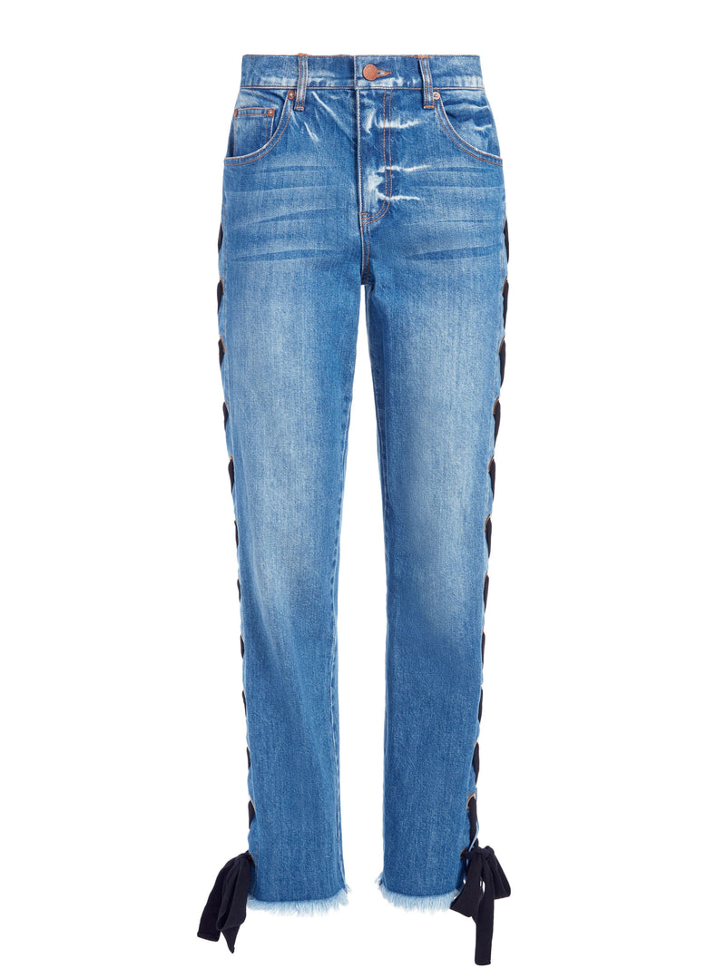 SHAYNE LACE UP RIBBON JEANS