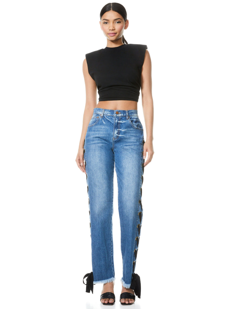 SHAYNE LACE UP RIBBON JEANS_5