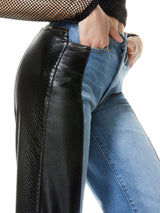 MAX ASYM VEGAN LEATHER DENIM PANT_4