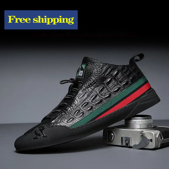 Free shipping Korean crocodile pattern leather men's shoes is casual and trendy
