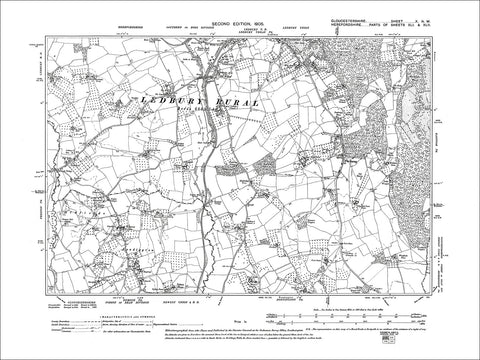 GLOUCESTERSHIRE 10NW : Old map of Leadington in 1905