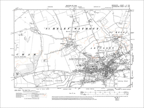 Abingdon, Shippon, old map Berkshire 1914: 10NW