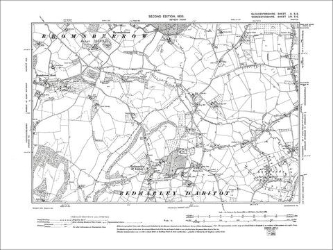 GLOUCESTERSHIRE 10SE : Old map of Bromsberrow Heath in 1903
