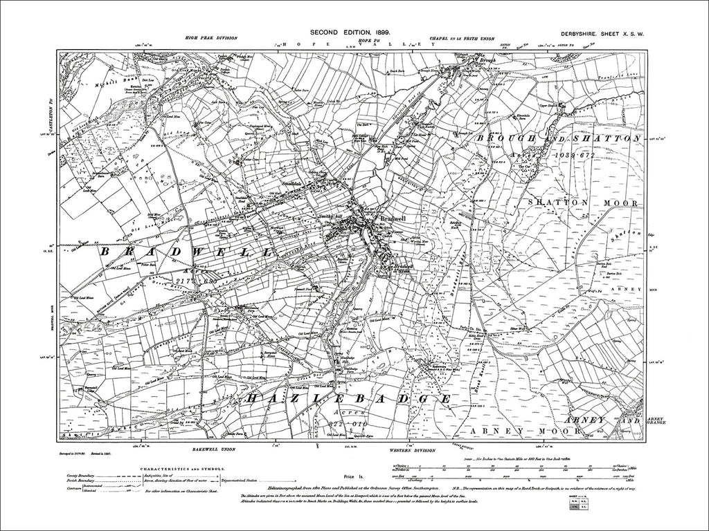 Bradwell, Brough, Smalldale, Old Map Derbyshire 1899: 10SW