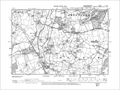 GLOUCESTERSHIRE 10SW : Old map of Dymock in 1903