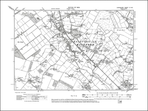 LANCASHIRE 100NE : old map of Rainford in 1909