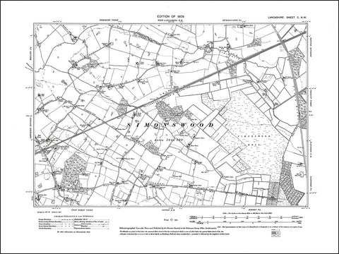 LANCASHIRE 100NW : old map of Simonswood in 1909