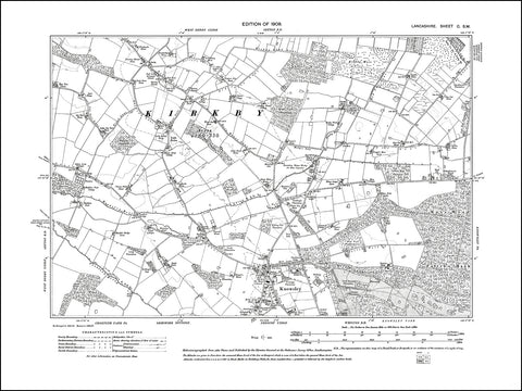 LANCASHIRE 100SW : old map of Knowsley in 1909