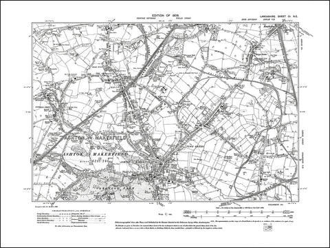 LANCASHIRE 101NE : old map of Ashton in Makerfield, Bryn in 1909