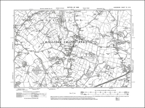 LANCASHIRE 101NW : old map of Billinge in 1909