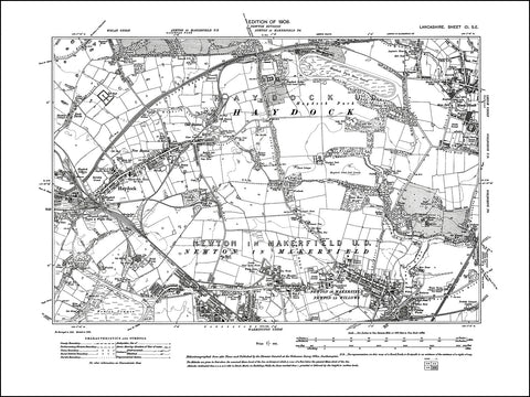 LANCASHIRE 101SE : old map of Haydock, Newton in Makerfield in 1909