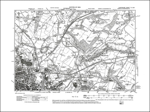 LANCASHIRE 101SW : old map of St Helens (northeast), Blackbrook in 1909