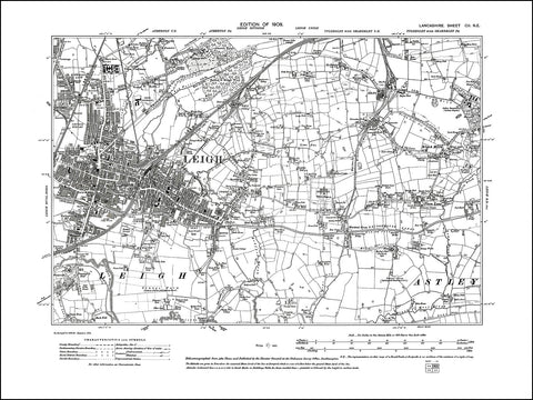 LANCASHIRE 102NE : old map of Leigh in 1908