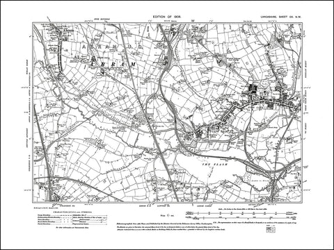 LANCASHIRE 102NW : old map of Leigh (west), Abram in 1908