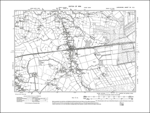 LANCASHIRE 102SE : old map of Glazebury in 1908