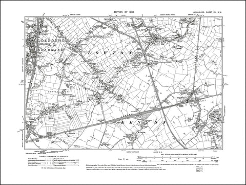 LANCASHIRE 102SW : old map of Golborne, Lowton, Kenyon in 1908