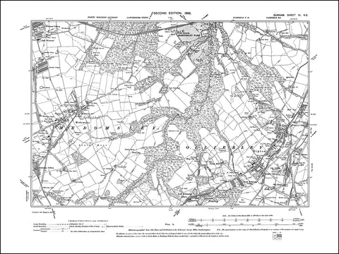 DURHAM 11NE : Old map of Dipton, Medomsley in 1898
