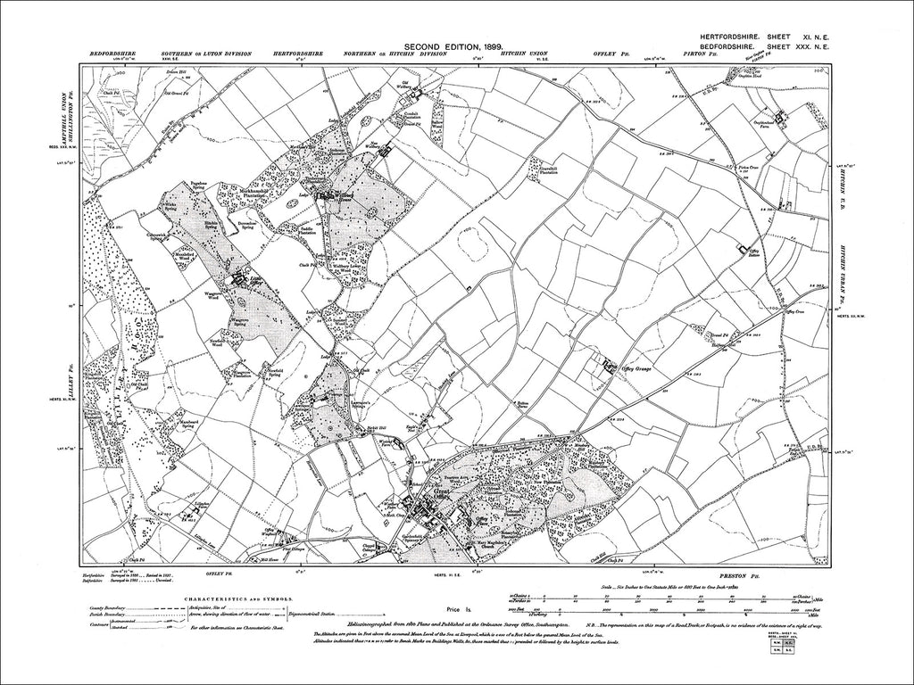 HERTFORDSHIRE 11NE : Old map of Great Offley in 1899