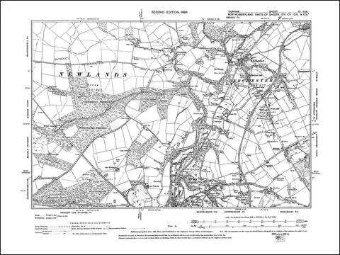 DURHAM 11NW : Old map of Ebchester, Shotley Bridge (north) in 1898