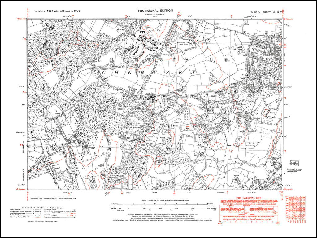 Chertsey (south), Addlestone (west), Ottershaw, Surrey in 1938 : 11-SW