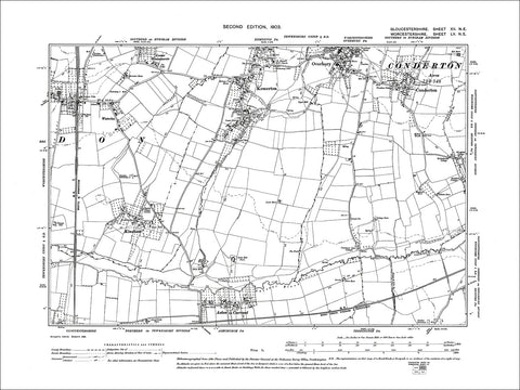 GLOUCESTERSHIRE 12NE : Old map of Kemerton in 1903