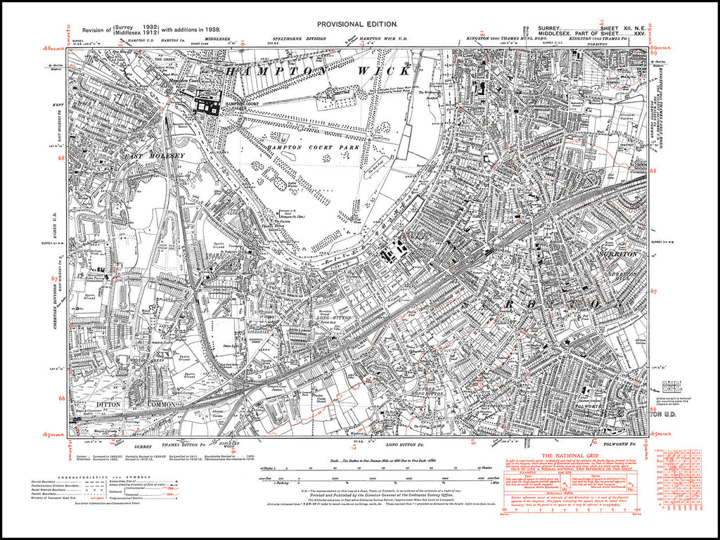 East Molesey, Thames Ditton, Long Ditton, Surbiton, Kingston (S), Surrey in 1938 : 12-NE