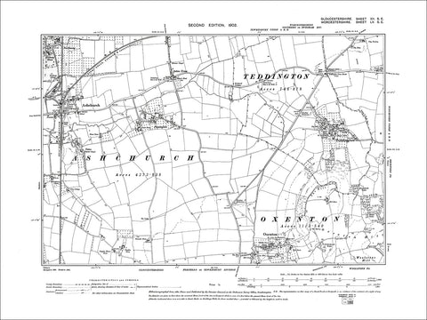 GLOUCESTERSHIRE 12SE : Old map of Teddington, Ashchurch, Oxenton in 1903